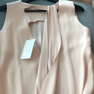 NWT Nude Blush Pink Tie Up Blouse